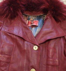 Пиджак кожанный с кроличьим мехом