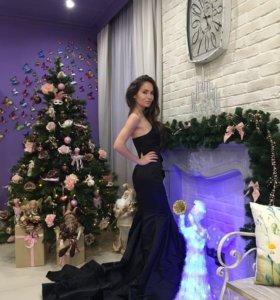 Платье новое в пол длинное черное