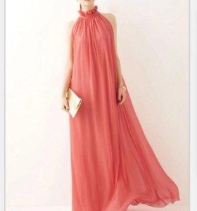 Новое розовое длинное платье с поясом + подарок