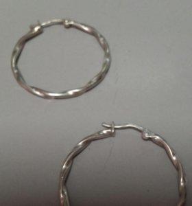 Серьги кольца, серебро 925