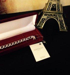 Новый мужской серебряный браслет