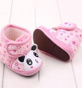 Пинетки-ботинки розовые, панда - НОВЫЕ!