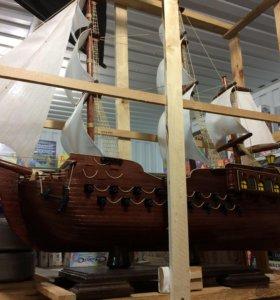 Корабль деревянный ручная работа