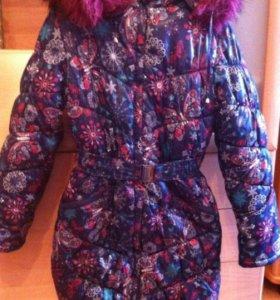 Зимнее пальто для девочки на рост до 146,