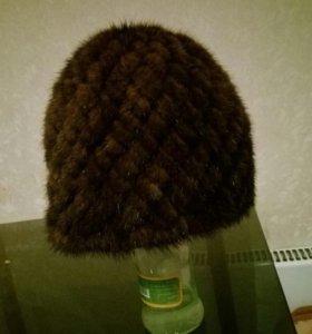 Норковая вязаная шапка