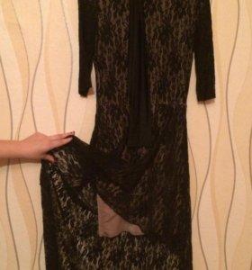 Шикарное платье Французский трикотаж+гипюр