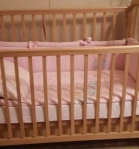 Кроватка+матрац+бортики