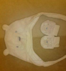 Шапочка и варежки мишка с ушками mothercare