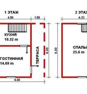 Размер сруба (по осям) 6,0 х 6,0 м