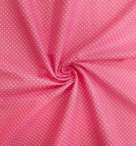 Ткань бязь горошек на розовом