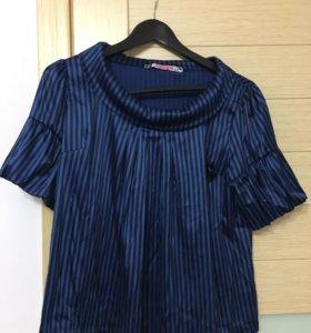 Синяя в полоску блузка р.44-46