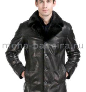 Новая зимняя кожаная куртка на мутоне ворот-норка