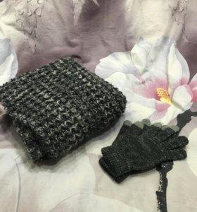 Набор вязаный шарф труба и перчатки. Все новое