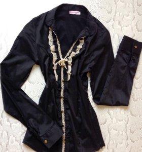 Рубашка чёрная с длинным рукавом р. 42