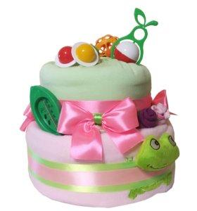 "Торт (беби-букет) из памперсов, 55 штук ""Лягушка"""