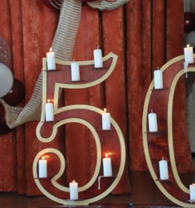 необычная подставка для свечей на юбилей