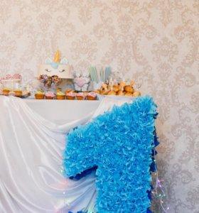 Подставка под торт, цифра один, декор