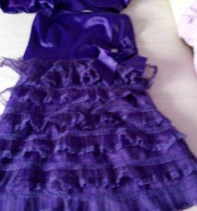 Фиолетовое платье с рюшами и болеро