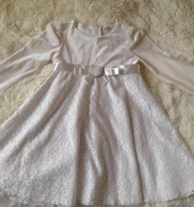 Платье гипюр с велюром