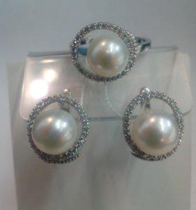Серьги кольцо серебро 925пр