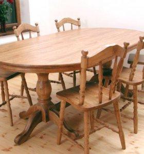 Столы и стулья из массива дуба, ясеня