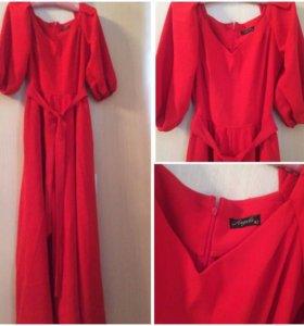 Продам яркое красное платье в пол.