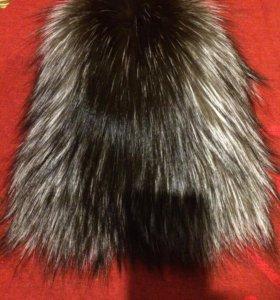 Вязанная шапочка из чернобурки