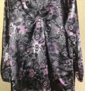Атласная блузка удлиненная