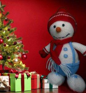 Вязаные игрушки Снеговик