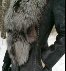 Новое пальто-дубленка.Натуральная кожа и мех