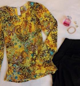 Блузка принт, 42-44 размер, круглый вырез