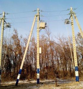 Установка опор ЛЭП. Замена провода СИП 68-20-52