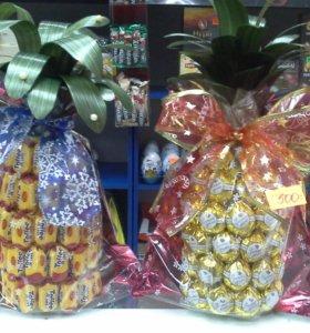 Букеты из конфет и оформление шампанского