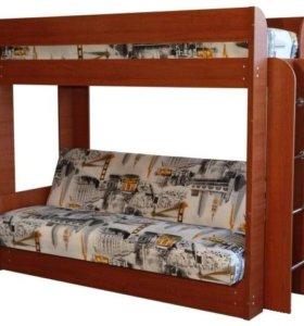 Диван-кровать двухъярусная с матрасом