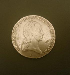 1 австрийский талер 1820 года серебро