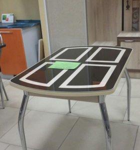 Стол 1.1#0.7 каленое стекло на плите ЛДСП