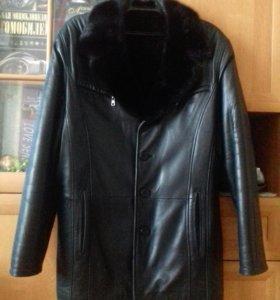 Куртка натуральная кожа с норкой