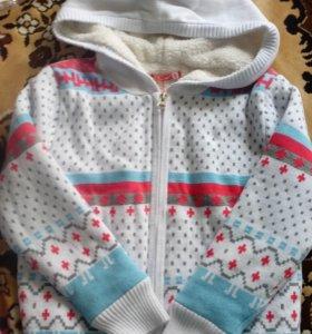Куртка вязка с подкладом. 3-5лет