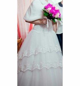 Свадебное платье+фата+подъюбник+шубка