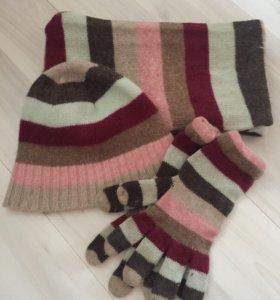Шарф, шапка и перчатки, комплект