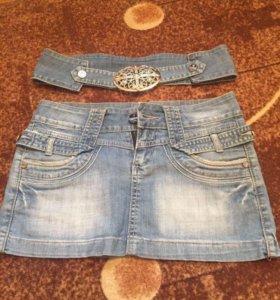 ЮБКИ джинсовые цена за ДВЕ