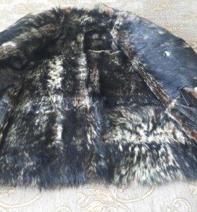 Куртка кожаная, с волчьим мехом!