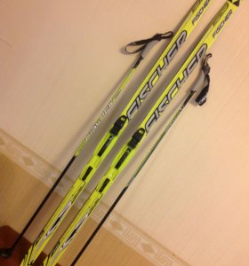 """Продам детские лыжи """"FISCHER"""" 1,6 м с палками"""