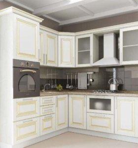 Кухонный гарнитур мдф с патиной золото