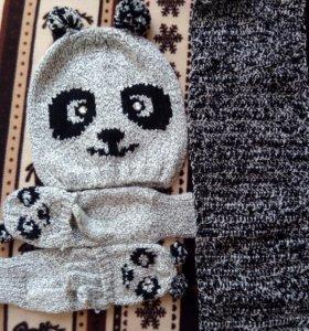 Шапка +варежки +шарф