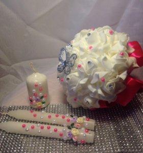 Розовый свадебный набор