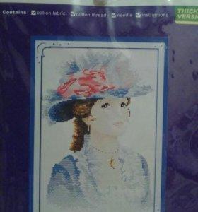 Набор для вышивки крестиком.Девушка в шляпе.