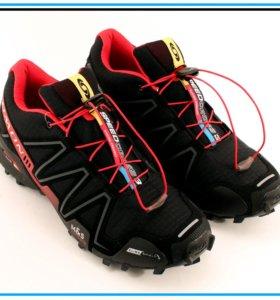 Кроссовки Salomon SpeedCross 3 чёрные с красным