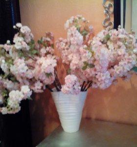 Искусственная ветка Сакуры нежно розового цвета