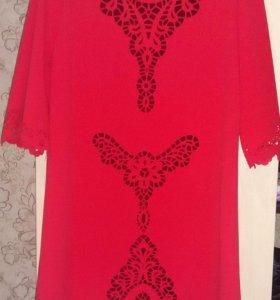 Платье красно-коралловое